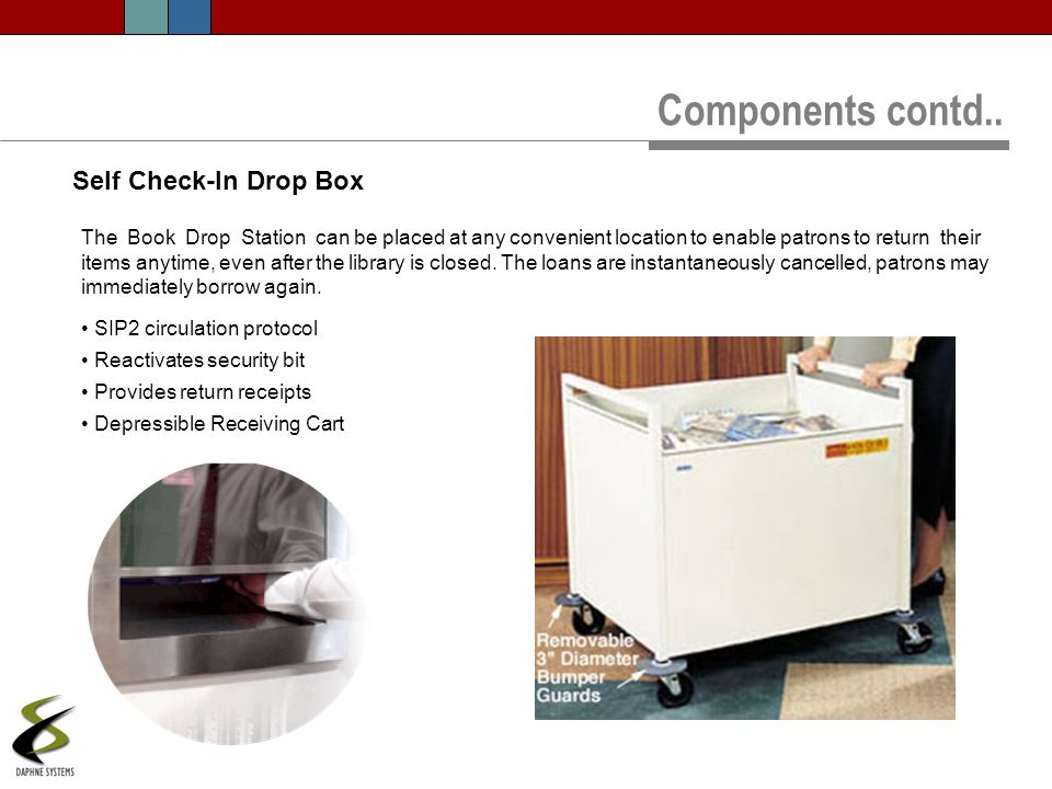 The Book Drop Station can be placed at any convenient location to enable patrons to return their items anytime, even after the library is closed. The