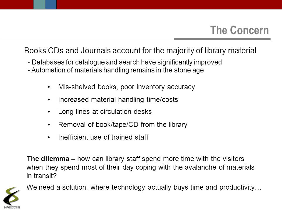 Books CDs and Journals account for the majority of library material Mis-shelved books, poor inventory accuracy Increased material handling time/costs