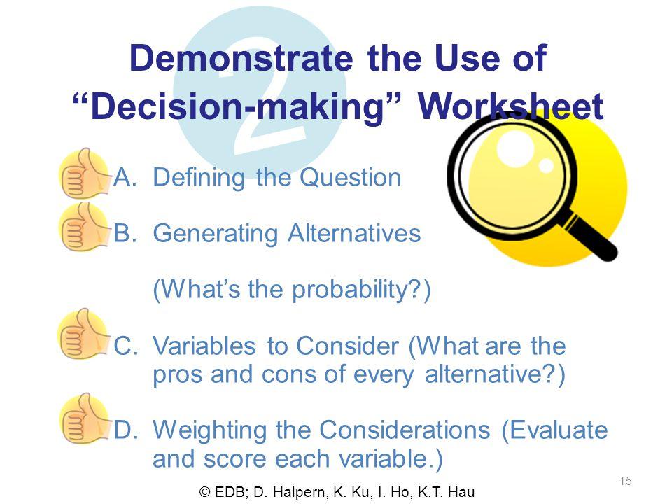© EDB; D. Halpern, K. Ku, I. Ho, K.T. Hau 15 2 Demonstrate the Use ofDecision-making Worksheet A.Defining the Question B.Generating Alternatives (What