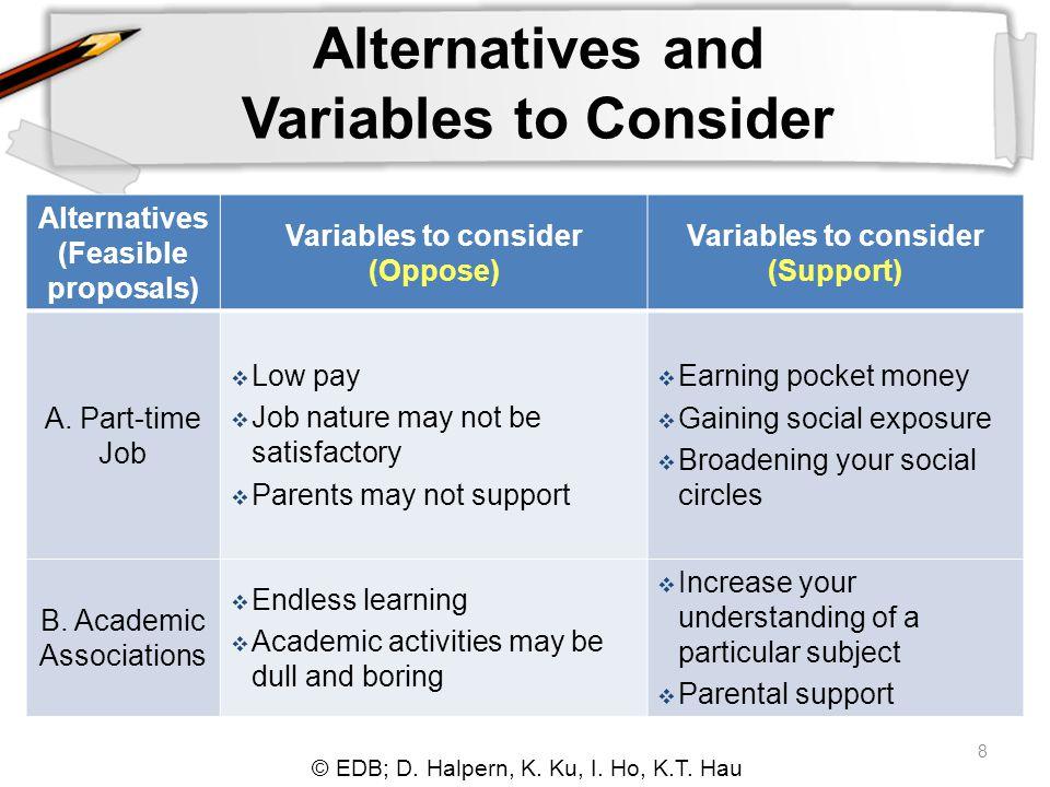© EDB; D. Halpern, K. Ku, I. Ho, K.T. Hau 8 Alternatives and Variables to Consider Alternatives (Feasible proposals) Variables to consider (Oppose) Va