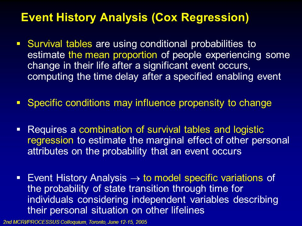 2nd MCRI/PROCESSUS Colloquium, Toronto, June 12-15, 2005 Event History Analysis (Cox Regression) Survival tables are using conditional probabilities to estimate the mean proportion of people experiencing some change in their life after a significant event occurs, computing the time delay after a specified enabling event Specific conditions may influence propensity to change Requires a combination of survival tables and logistic regression to estimate the marginal effect of other personal attributes on the probability that an event occurs Event History Analysis to model specific variations of the probability of state transition through time for individuals considering independent variables describing their personal situation on other lifelines