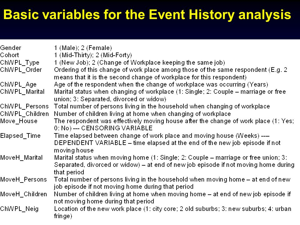 2nd MCRI/PROCESSUS Colloquium, Toronto, June 12-15, 2005 Basic variables for the Event History analysis
