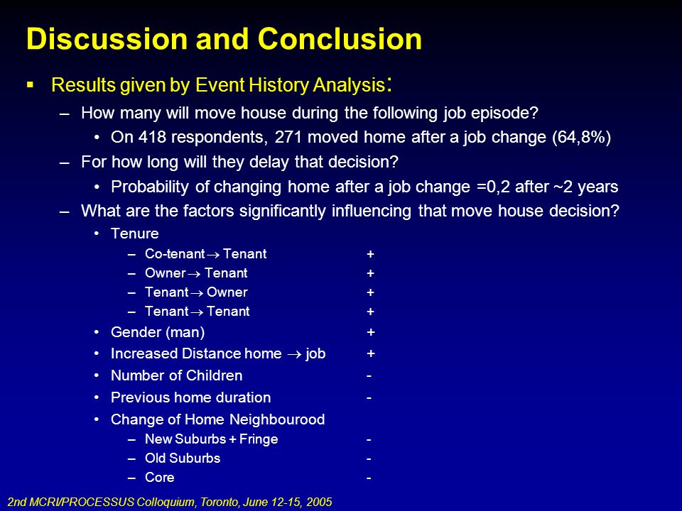 Discussion and Conclusion Results given by Event History Analysis : –How many will move house during the following job episode? On 418 respondents, 27