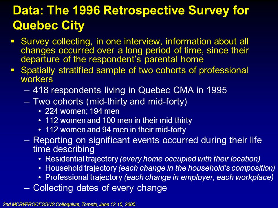2nd MCRI/PROCESSUS Colloquium, Toronto, June 12-15, 2005 Data: The 1996 Retrospective Survey for Quebec City Survey collecting, in one interview, information about all changes occurred over a long period of time, since their departure of the respondents parental home Spatially stratified sample of two cohorts of professional workers –418 respondents living in Quebec CMA in 1995 –Two cohorts (mid-thirty and mid-forty) 224 women; 194 men 112 women and 100 men in their mid-thirty 112 women and 94 men in their mid-forty –Reporting on significant events occurred during their life time describing Residential trajectory (every home occupied with their location) Household trajectory (each change in the households composition) Professional trajectory (each change in employer, each workplace) –Collecting dates of every change