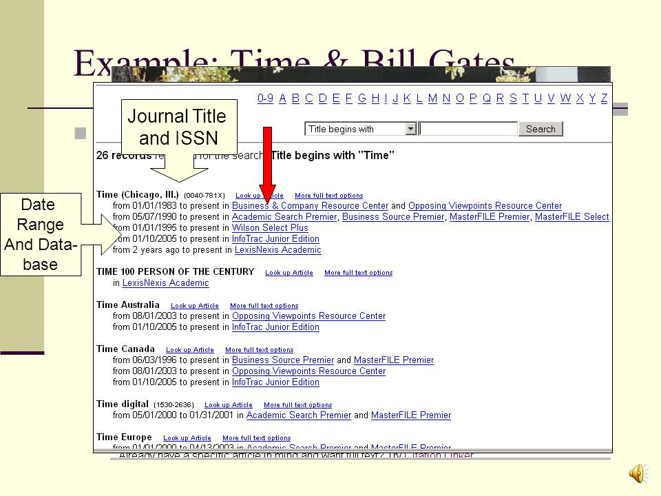 Shortcuts in Searching Databases What if I already know what Journal Title I want, but I dont know what database will have it.