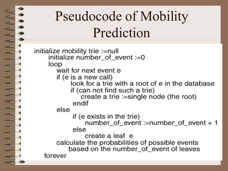 18 Pseudocode of Mobility Prediction