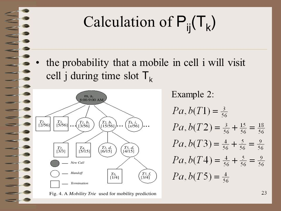 23 Calculation of P ij (T k ) the probability that a mobile in cell i will visit cell j during time slot T k Example 2:
