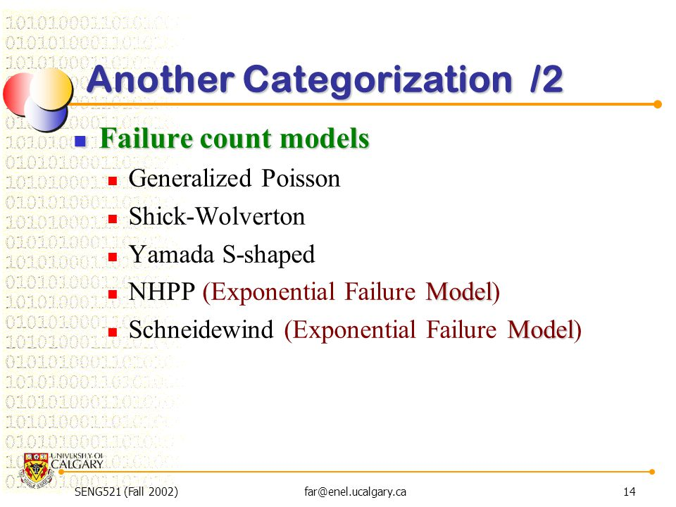 SENG521 (Fall 2002)far@enel.ucalgary.ca14 Another Categorization /2 Failure count models Failure count models Generalized Poisson Shick-Wolverton Yama