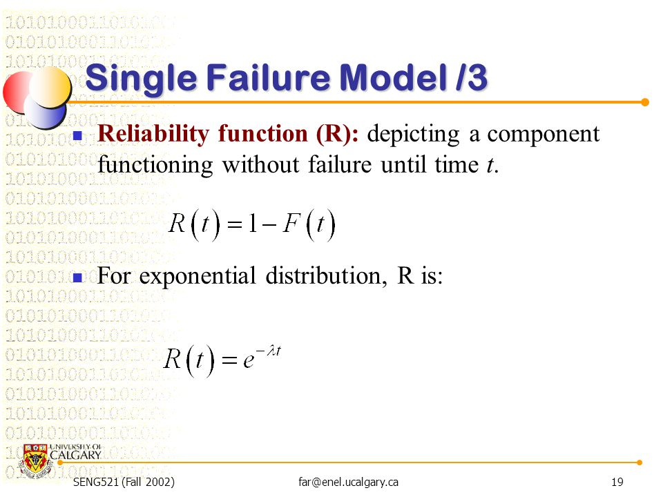 SENG521 (Fall 2002)far@enel.ucalgary.ca19 Single Failure Model /3 Reliability function (R): depicting a component functioning without failure until ti