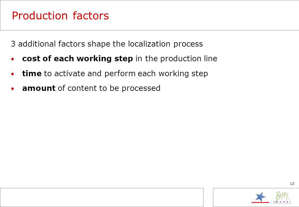 13 Production factors 3 additional factors shape the localization process cost of each working step in the production line time to activate and perfor