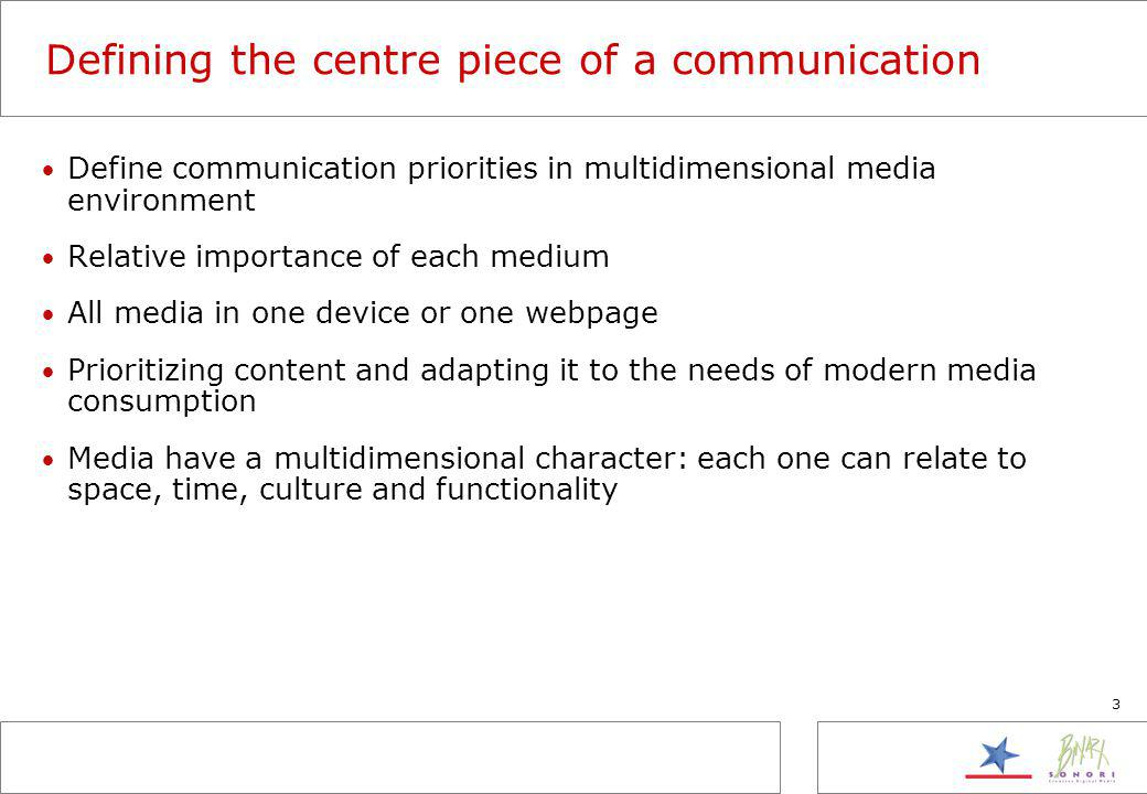 3 Defining the centre piece of a communication Define communication priorities in multidimensional media environment Relative importance of each medium All media in one device or one webpage Prioritizing content and adapting it to the needs of modern media consumption Media have a multidimensional character: each one can relate to space, time, culture and functionality