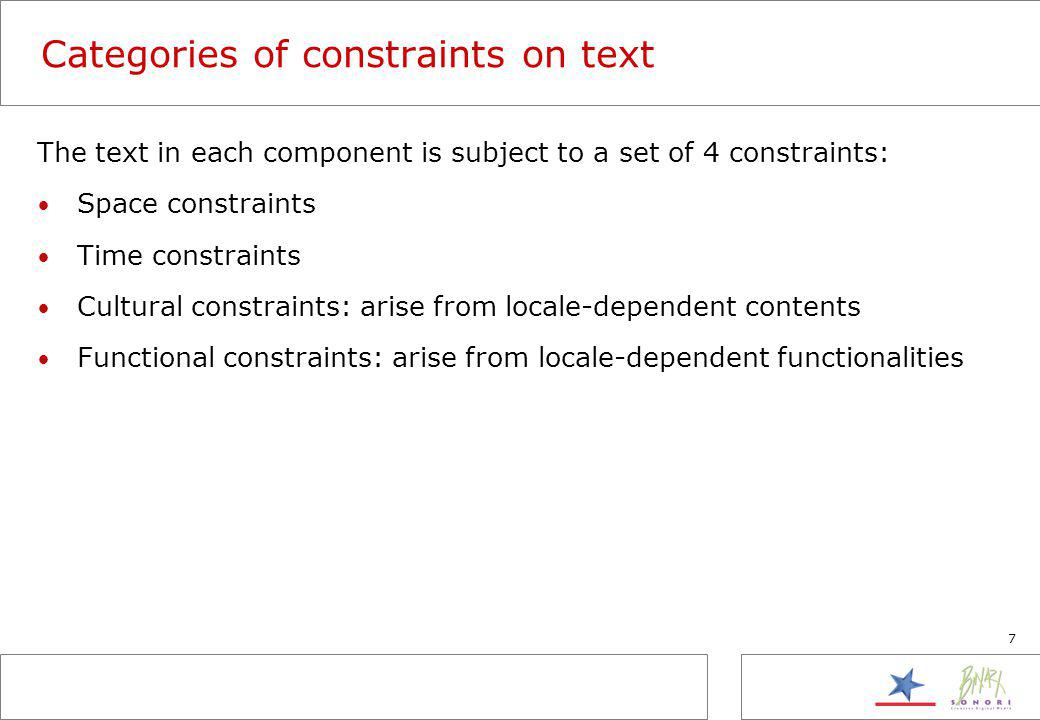 7 Categories of constraints on text The text in each component is subject to a set of 4 constraints: Space constraints Time constraints Cultural constraints: arise from locale-dependent contents Functional constraints: arise from locale-dependent functionalities