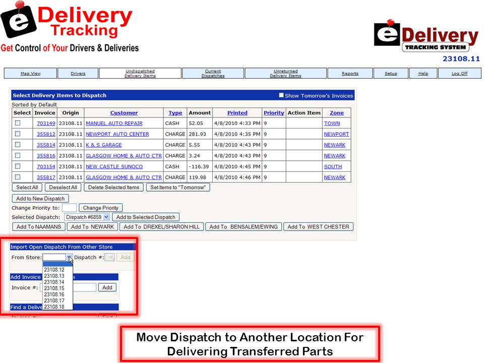 Move Dispatch to Another Location For Delivering Transferred Parts