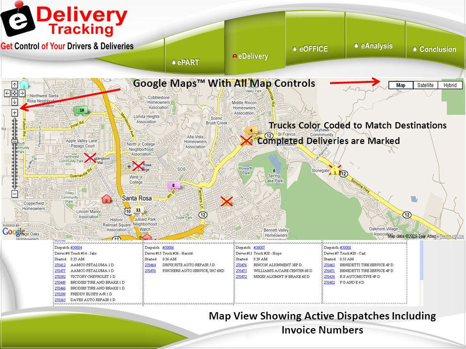 Map View Showing Active Dispatches Including Invoice Numbers Trucks Color Coded to Match Destinations Completed Deliveries are Marked Google Maps With