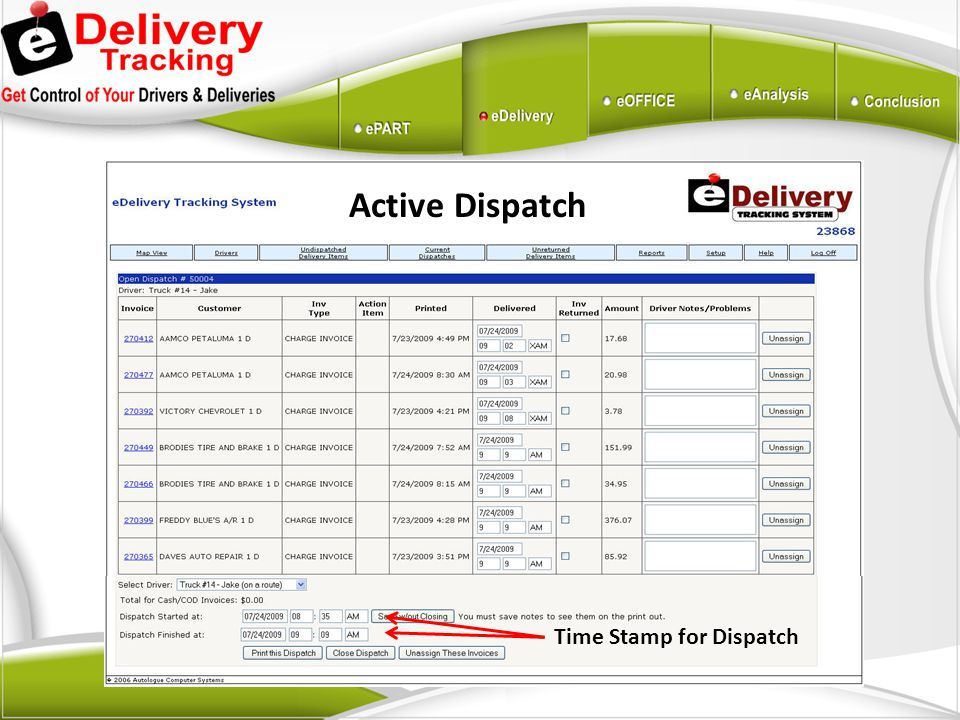 Active Dispatch Time Stamp for Dispatch