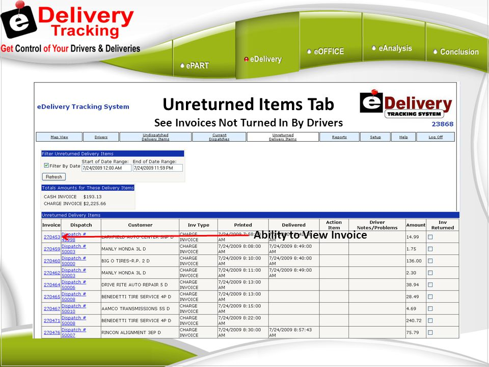 Ability to View Invoice Unreturned Items Tab See Invoices Not Turned In By Drivers