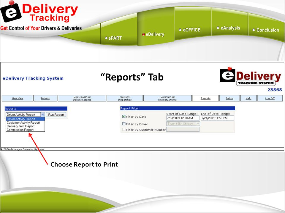 Choose Report to Print
