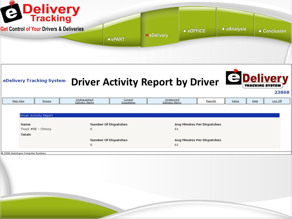 Driver Activity Report by Driver