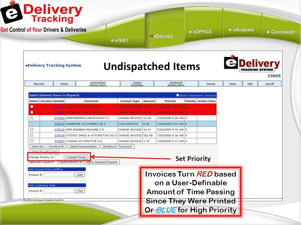 Undispatched Items Set Priority Invoices Turn RED based on a User-Definable Amount of Time Passing Since They Were Printed Or BLUE for High Priority