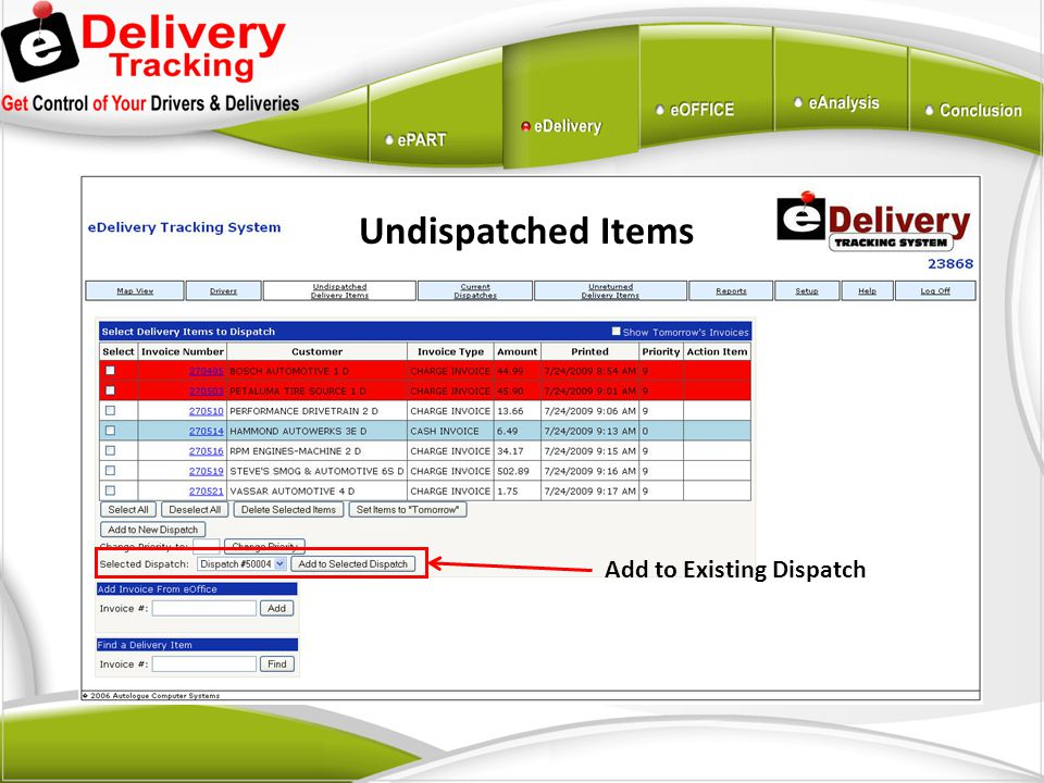 Undispatched Items Add to Existing Dispatch