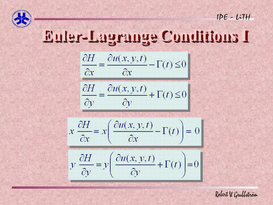 Euler-Lagrange Conditions I