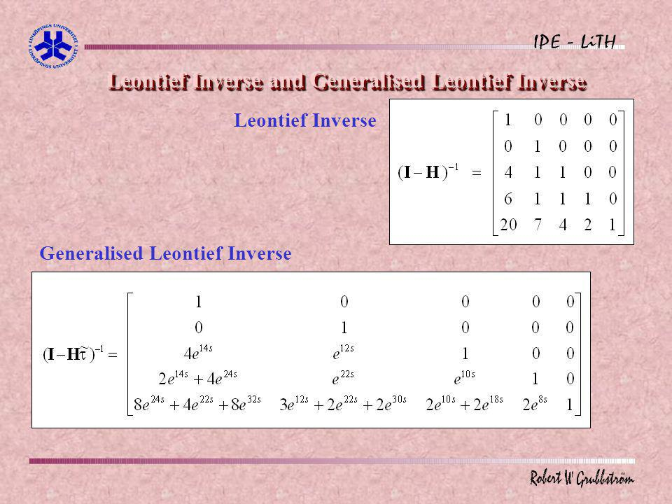 Leontief Inverse and Generalised Leontief Inverse Leontief Inverse Generalised Leontief Inverse ~