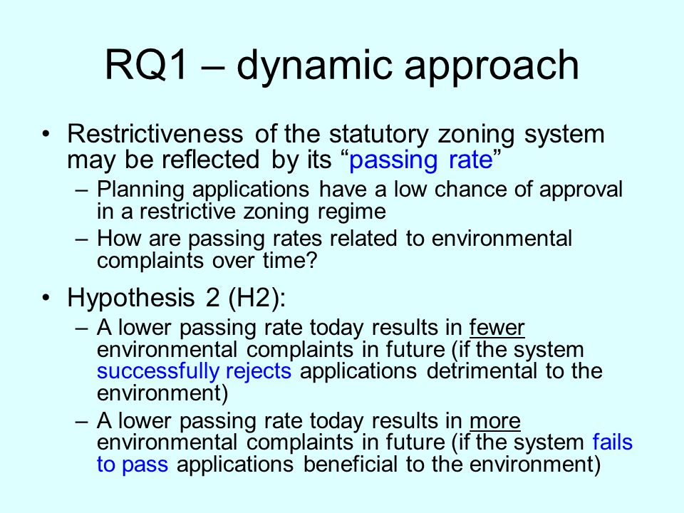 RQ1 – dynamic approach Restrictiveness of the statutory zoning system may be reflected by its passing rate –Planning applications have a low chance of approval in a restrictive zoning regime –How are passing rates related to environmental complaints over time.