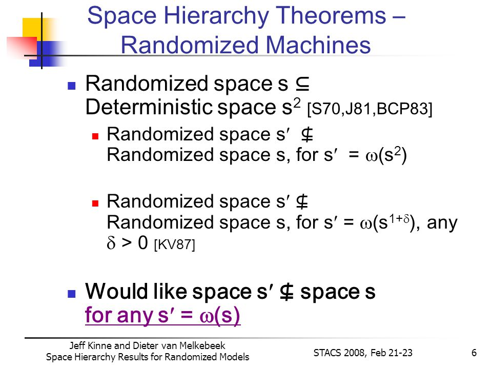 Jeff Kinne and Dieter van Melkebeek Space Hierarchy Results for Randomized Models STACS 2008, Feb 21-236 Randomized space s Deterministic space s 2 [S70,J81,BCP83] Randomized space s Randomized space s, for s = (s 2 ) Randomized space s Randomized space s, for s = (s 1+ ), any > 0 [KV87] Would like space s space s for any s = (s) Space Hierarchy Theorems – Randomized Machines