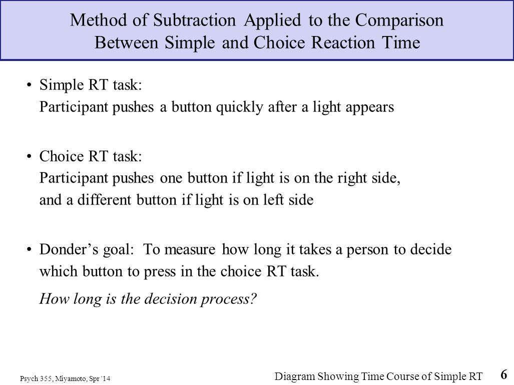 Psych 355, Miyamoto, Spr '14 6 Method of Subtraction Applied to the Comparison Between Simple and Choice Reaction Time Simple RT task: Participant pus