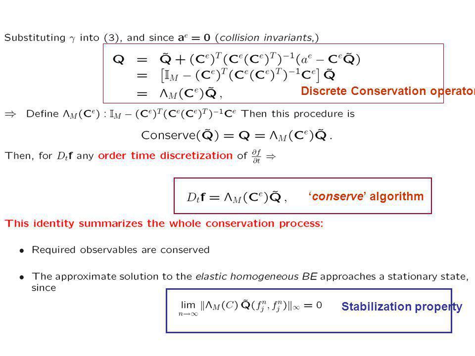 conserve algorithm Stabilization property Discrete Conservation operator