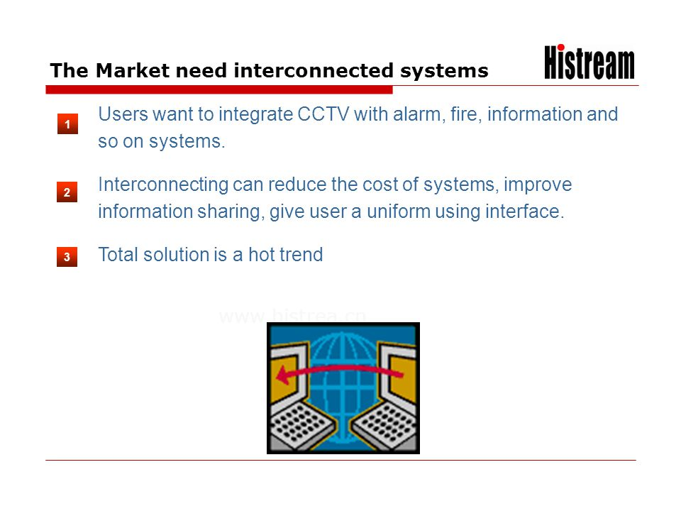 www.histrea.cn Users want to integrate CCTV with alarm, fire, information and so on systems. Interconnecting can reduce the cost of systems, improve i
