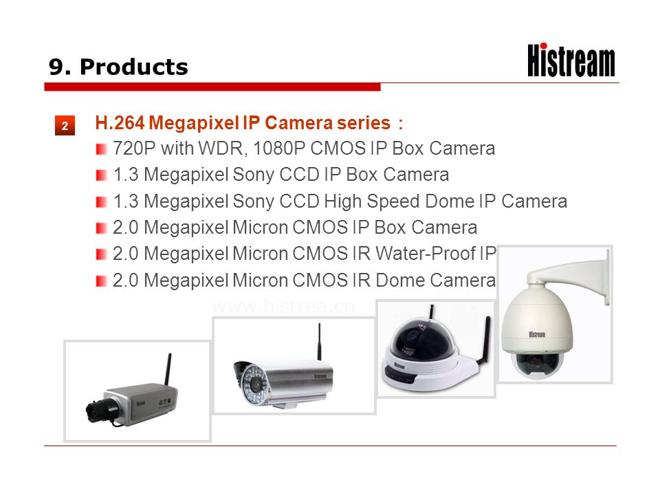 www.histrea.cn 9. Products 2 H.264 Megapixel IP Camera series 720P with WDR, 1080P CMOS IP Box Camera 1.3 Megapixel Sony CCD IP Box Camera 1.3 Megapix