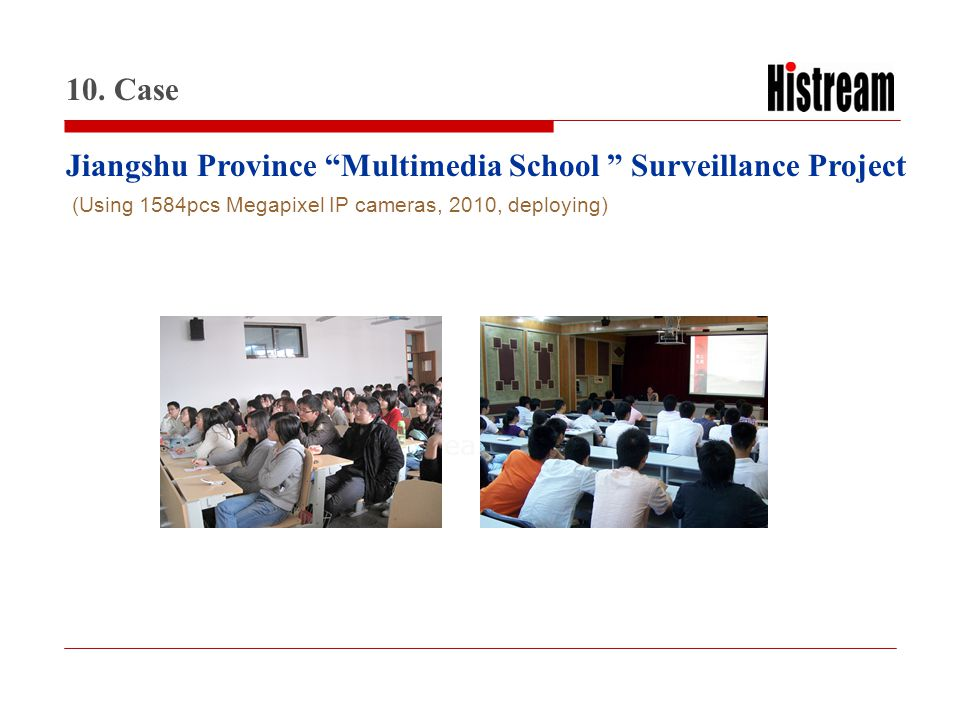 www.histrea.cn Jiangshu Province Multimedia School Surveillance Project 10. Case (Using 1584pcs Megapixel IP cameras, 2010, deploying)