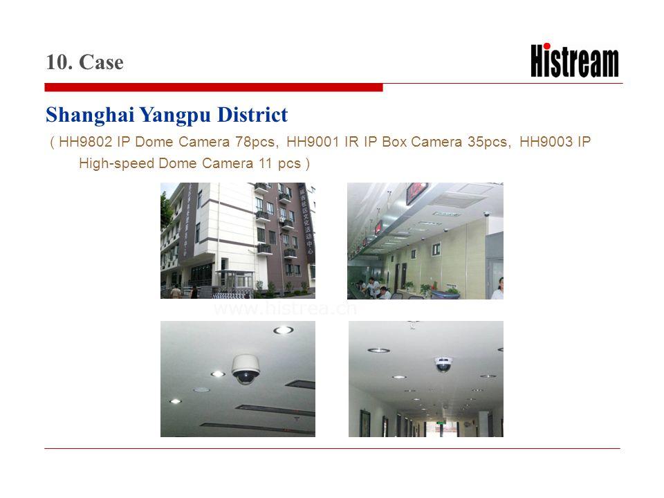www.histrea.cn Shanghai Yangpu District 10. Case ( HH9802 IP Dome Camera 78pcs, HH9001 IR IP Box Camera 35pcs, HH9003 IP High-speed Dome Camera 11 pcs
