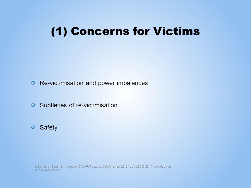 (1) Concerns for Victims Re-victimisation and power imbalances Subtleties of re-victimisation Safety UCC North South Criminology/CCJHR Postgrad Confer