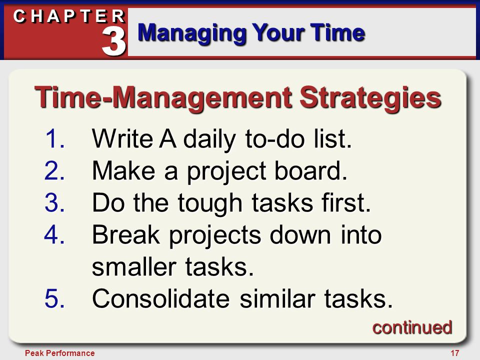 17Peak Performance C H A P T E R Managing Your Time 3 Time-Management Strategies 1.Write A daily to-do list.