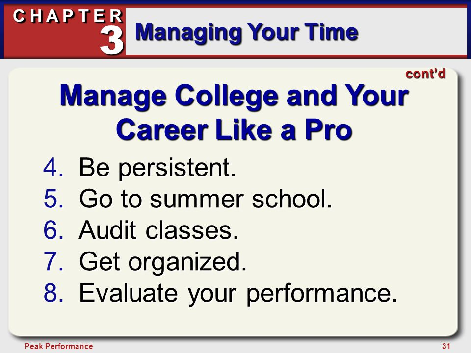 31Peak Performance C H A P T E R Managing Your Time 3 contd Manage College and Your Career Like a Pro 4.Be persistent.