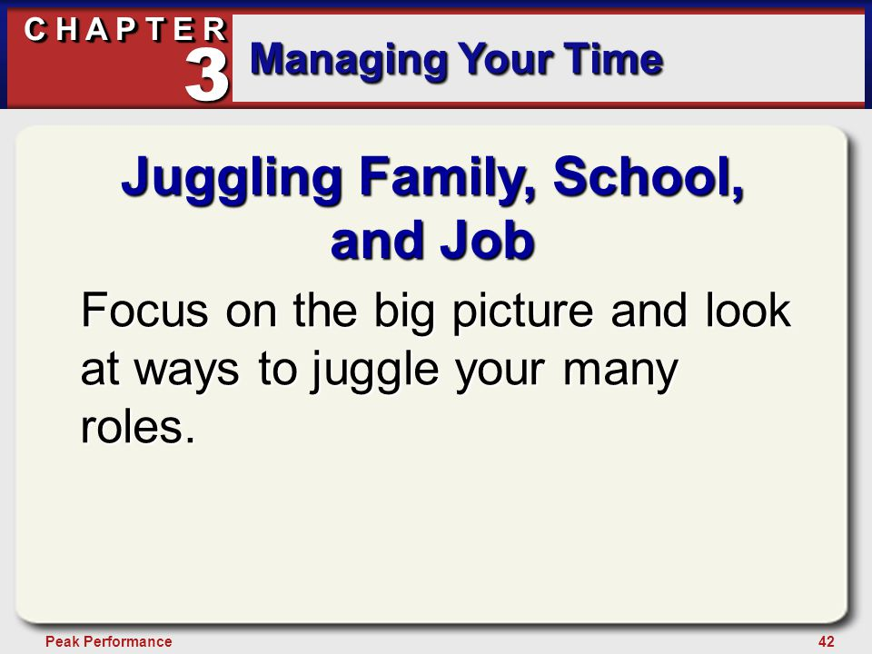 42Peak Performance C H A P T E R Managing Your Time 3 Juggling Family, School, and Job Focus on the big picture and look at ways to juggle your many roles.