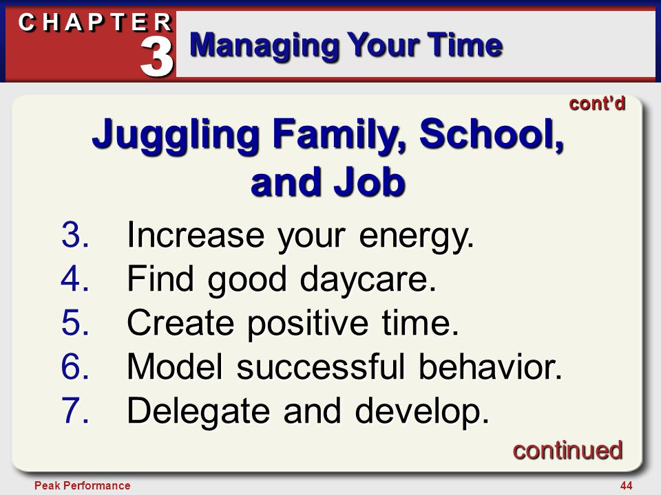 44Peak Performance C H A P T E R Managing Your Time 3 Juggling Family, School, and Job 3.Increase your energy.