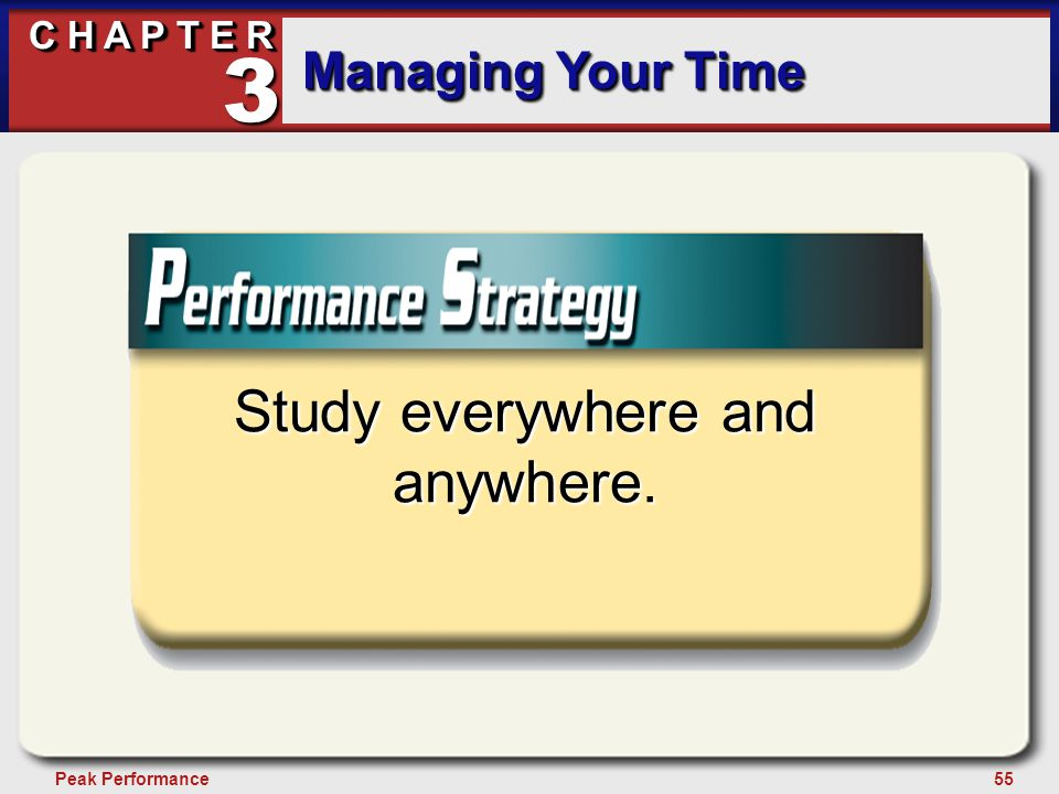 55Peak Performance C H A P T E R Managing Your Time 3 Study everywhere and anywhere.