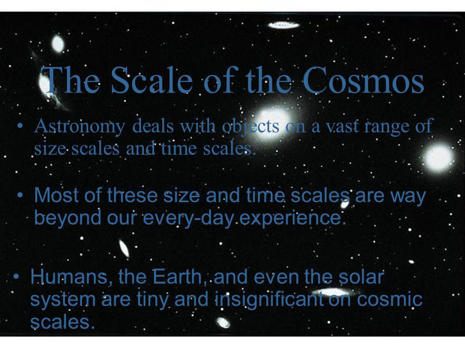 Size and Scale of the Universe Image courtesy of The Cosmic Perspective by Bennett, Donahue, Schneider, & Voit; Addison Wesley, 2002