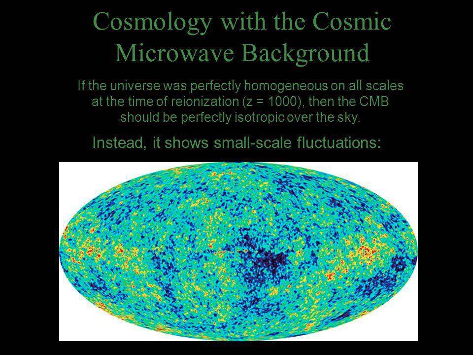Cosmology with the Cosmic Microwave Background If the universe was perfectly homogeneous on all scales at the time of reionization (z = 1000), then th