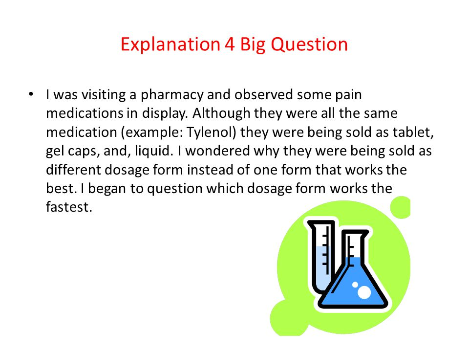 Explanation 4 Big Question I was visiting a pharmacy and observed some pain medications in display.