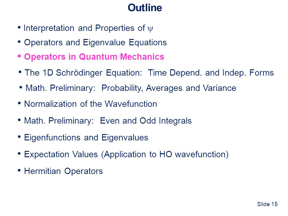 Slide 15 Outline Interpretation and Properties of Operators and Eigenvalue Equations Normalization of the Wavefunction Operators in Quantum Mechanics