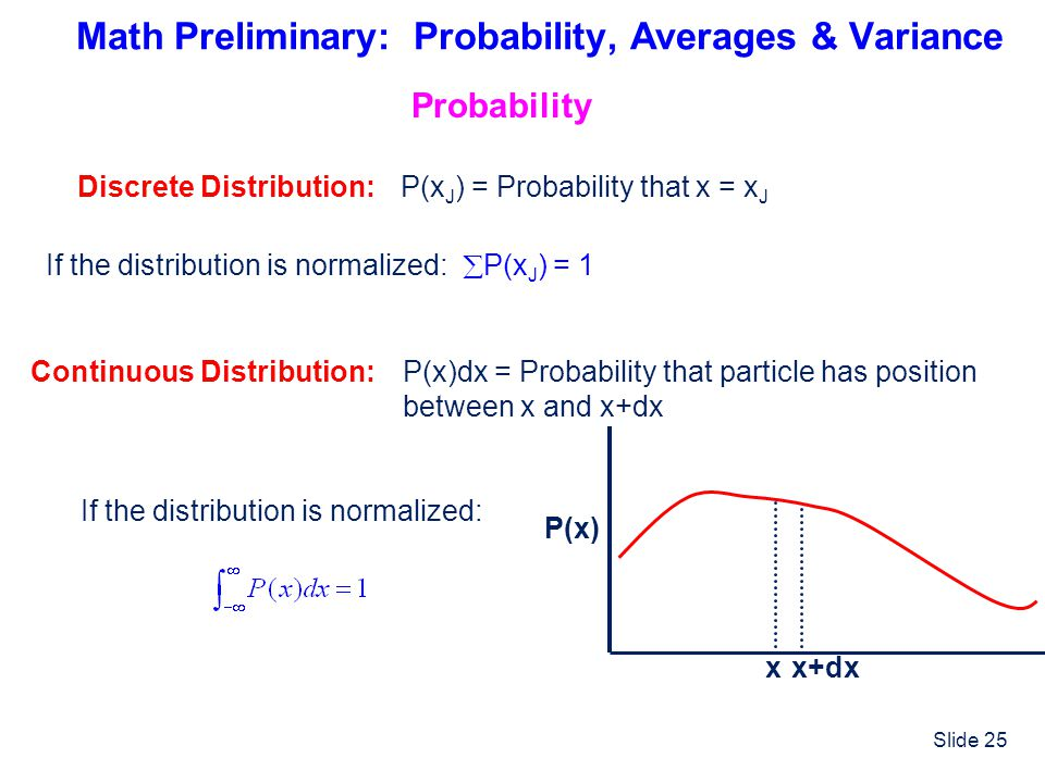 Slide 25 Math Preliminary: Probability, Averages & Variance Probability Discrete Distribution:P(x J ) = Probability that x = x J If the distribution i
