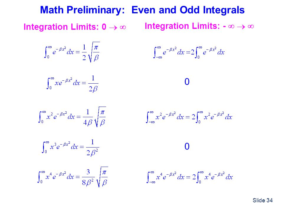 Slide 34 Math Preliminary: Even and Odd Integrals Integration Limits: - Integration Limits: 0 0 0