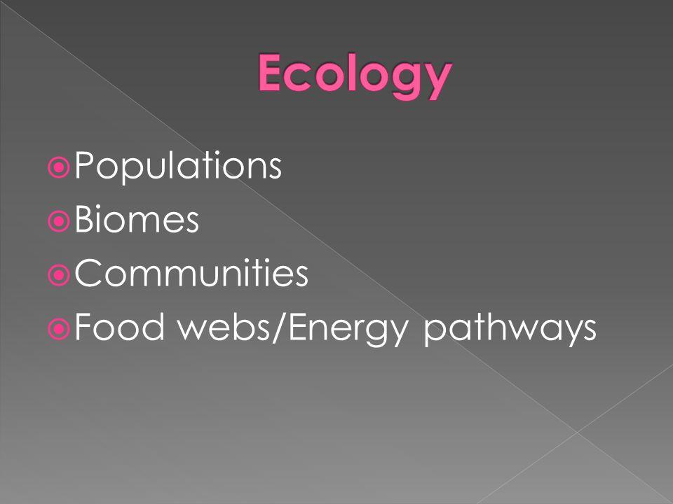 Populations Biomes Communities Food webs/Energy pathways