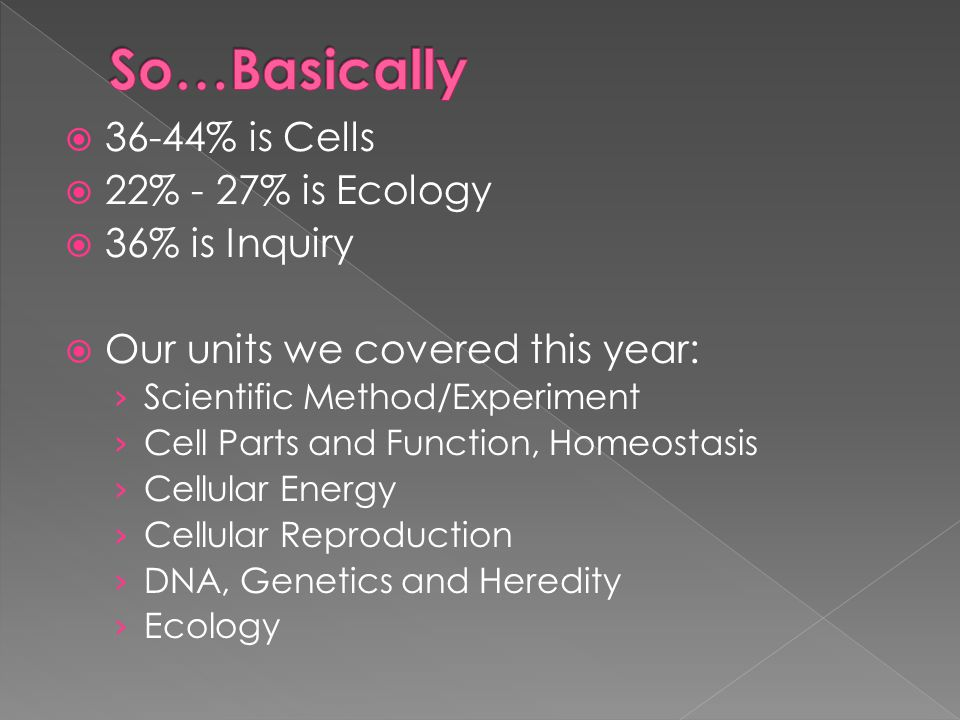 36-44% is Cells 22% - 27% is Ecology 36% is Inquiry Our units we covered this year: Scientific Method/Experiment Cell Parts and Function, Homeostasis Cellular Energy Cellular Reproduction DNA, Genetics and Heredity Ecology