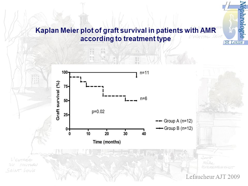 Kaplan Meier plot of graft survival in patients with AMR according to treatment type Lefaucheur AJT 2009