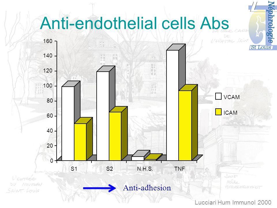 Anti-endothelial cells Abs S1S2N.H.S.TNF 0 20 40 60 80 100 120 140 160 VCAM ICAM Lucciari Hum Immunol 2000 Anti-adhesion